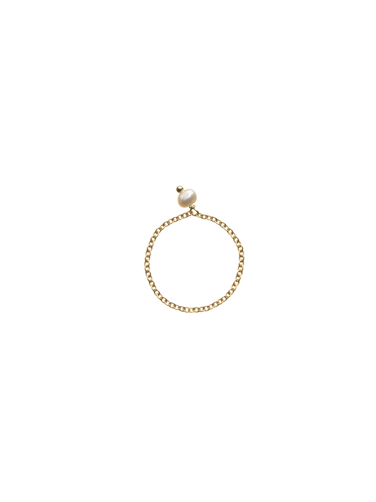 Chain ring with freshwater pearl